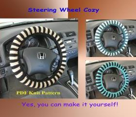 Knit Pattern - Steering Wheel Cozy/Cover (3VC2012)