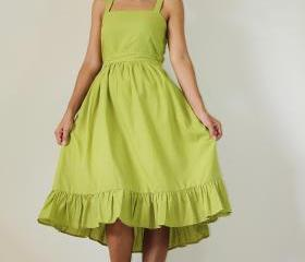 Short green dress Bridesmaid Prom Party Cocktail Cotton Gown: Party Time Collection II