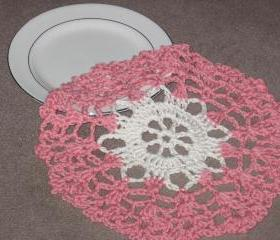 Handmade Decorative Crocheted Round Dishcloth or Doily -Coral/Cream