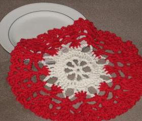 Handmade Decorative Crocheted Round Dishcloth or Doily -Red/Cream