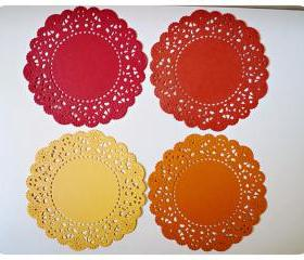 Parisian Lace Doily Red & Orange for Scrap booking or card making / pack