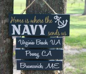 "FOUR Duty Station ""Home is Where the Army, Marine Corps, Coast Guard, Air Force, Navy Sends Us"" painted Military family sign"