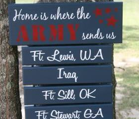"FOUR Duty Station ""Home is Where the Army, Navy, Marine Corps, Air Force, Coast Guard Sends Us"" Military family sign"