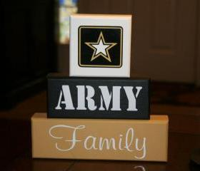 ARMY Family Blocks Military Decor Shelf Sitter