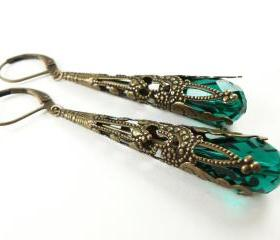 Emerald Green Earrings Brass Filigree Leverback Teardrop Earrings Victorian Jewelry