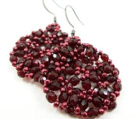Dark Wine Beaded Earrings Dark Red Jewelry Gun Metal Earwires Deep Red Beaded Jewelry