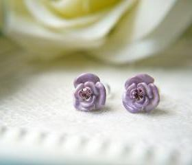 SALE Lavender Rose With Crystal Post Earrings. Titanium Posts.