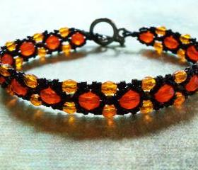 Halloween Bracelet Beaded Jewelry Orange Harvest Autumn Black and Orange Beaded Bracelet Fall Colors