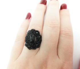 Gothic Ring Black Ring Black Jewelry Gothic Jewelry Victorian Style Jewelry Size 7