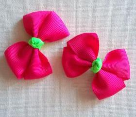 Mini Neon Boutique Bow Pair - Shocking Pink, Neon Green
