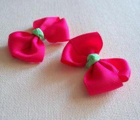 Mini Boutique Bow Pair - Shocking Pink, Mint Green