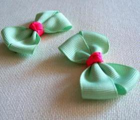 Mini Boutique Bow Pair - Light Green, Shocking Pink
