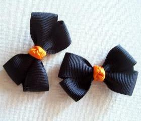 Mini Boutique Halloween Bow Pair - Black, Orange