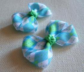 Mini Boutique Argyle Bow Pair - Blue, Green, White
