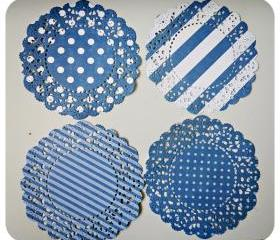 4 Parisian Lace Doily Dark Blue polka dot & stripe / pack