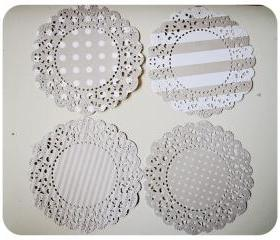 4 Parisian Lace Doily grey polka dot & stripe / pack