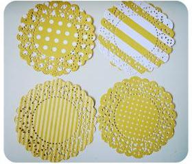 4 Parisian Lace Doily yellow polka dot & stripe / pack 