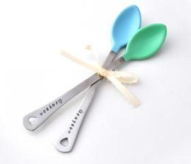 Personalized Baby Spoon SET OF TWO(2) baby shower gift, new mom, baby feeding baby boy blue set, baby name by ZADOO