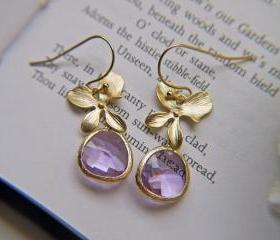 Sale. Gold Orchid Amethyst Glass Drop Earrings. Mothers Day Jewelry. Wedding Bridal Prom