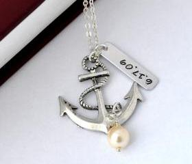 Personalized antique anchor necklace, keepsake necklace, special day necklace, anniversary, wedding date, engagement by ZADOO