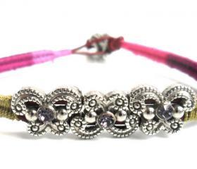 Friendship Bracelet, Leather Woven in multicolored cotton, Lavender crystal , Vineyard summer, 2012 trendy for her under 20