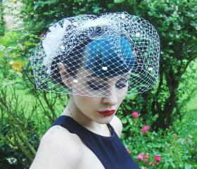 Birdcage veil. Ivory Dotty.