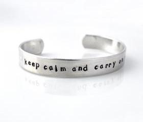 Personalized metal cuff bracelet, custom bracelet, aluminum cuff hand stamped bracelet, keep calm and carry on, class of 2012 Graduation by ZADOO