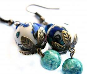 Asian design porcelain earrings in blue and green