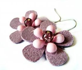 Pink and purple suede flower earrings