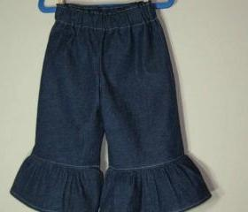 Girls Ruffle Pants Denim All sizes Ruffle Pants Jeans Denim Dark Blue Stretch