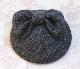 Grey Bow Cocktail Hat.