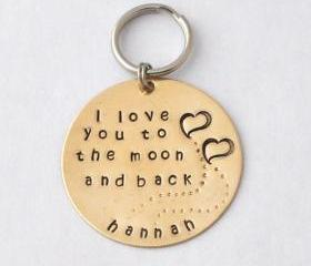 GIFT Key chain- I love you to the moon and back custom gift personalized key ring mother's day gifts, gift for lover by ZADOO