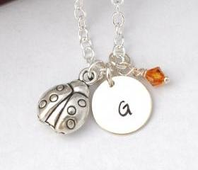 Initial Necklace Silver ladybug Charm Personalized Initial Necklace cute 3D lady bug by ZADOO