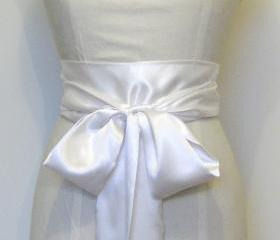 Ivory bridal satin sash.