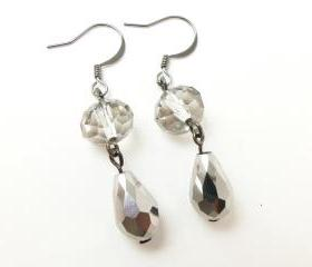 Silver Teardrop Earrings - Dark Silver - Gun Metal - Classic Earrings - Evening Formal