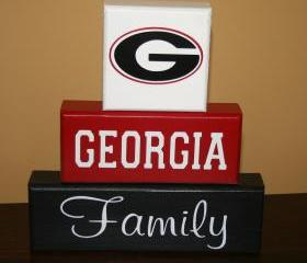 UGA Georgia Family Blocks GA Bulldogs Hand Painted