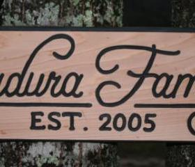 Family Name Sign Hand Carved on cedar in Beautiful Script