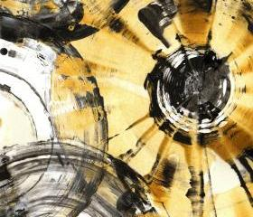 Modern Abstract Original Art -- Abstract Expressionism -- Contemporary Abstract Paintings - Black and Gold Rhythm - 1083.052012