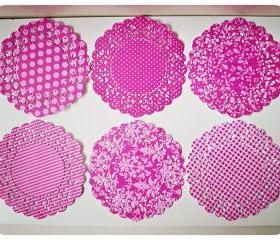 Parisian Lace Doily Raspberry Fizz for Scrap booking or card making / pack