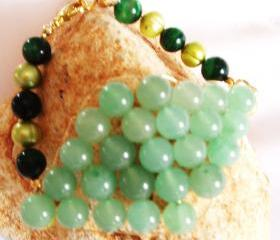 Pearl & Aventurine Green Tigers Eye Bracelet Gemstone Handmade