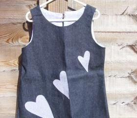 Girls denim applique heart pinafore dress