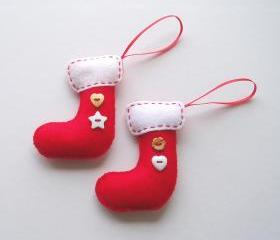 Mini Handmade Felt Christmas Stockings