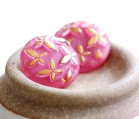 Vintage Golden Butterfly Rose Pink Moonglow Glass Buttons