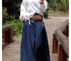 Wide Waist bag linen of flax personality Skirt