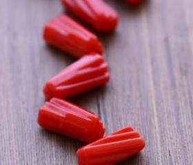 Vintage Red Art Deco Lucite Beads