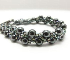 Hematite Bracelet - Beaded Jewelry - Beaded Bracelet - Grey Jewelry - 7 1/4 inches - Gray