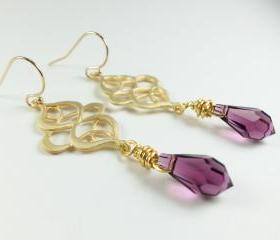 Amethyst Gold Earrings - Purple Jewelry - Amethyst Crystal Earrings - Gold Jewelry - Dangle Earrings