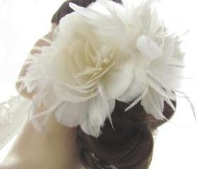 Gabrielle Bridal Headpiece Feather Flower Fascinator