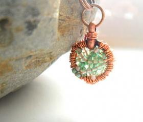 Copper wire wrapped pendant Green Agate necklace - Full of Wishes - Summer colors 2012