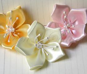 Satin Ribbon Flowers - 5 pcs - 100% handmade